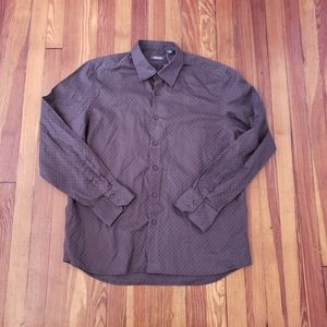 Kenneth Cole Reaction Brown Mens Button Shirt Size